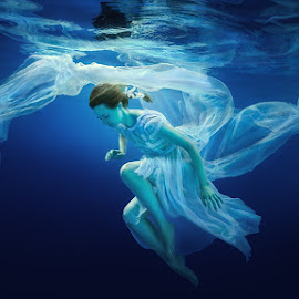 Romantic. by Dmitry Laudin - People Fashion ( underwater, blue, dress, white, hair )