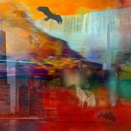 A Piece of America by Randi Nilsberg - Digital Art Places ( austin, illinois, waterfalls, america, oklahoma, colorful, texas, horse, cloud_gate_monument, travel, beach, ny, usa, americana, condor, pensacola beach, skyscraper, florida, american, buildings, collage, monument, chicago, united_states, longhorn, buffalo, lincoln, eagle, flatiron_building, dillo, bison, colors, us, road_trip, niagara_falls, flag, humming_bird, new_york, jellybean, waterfront, squirrel )
