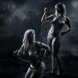 Be Your Own Master by Derek Galon - Nudes & Boudoir Artistic Nude ( girls, duo, nude, chains, dark, conceptual, women, key )