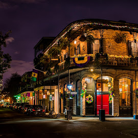 New Orleans After Dark, Dressed for Mardi Gras by Sheldon Anderson - City,  Street & Park  Street Scenes ( red door, new orleans, building, night photography, night, streets, night sky, street scenes, mardi gras, street photography,  )