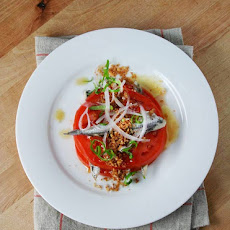 Tomato & Anchovies with Bread Crumbs, Basil & Red Onion
