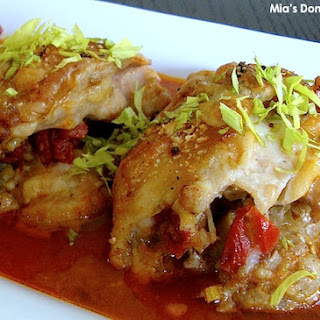 Baked Stuffed Chicken in Roasted Tomato Sauce