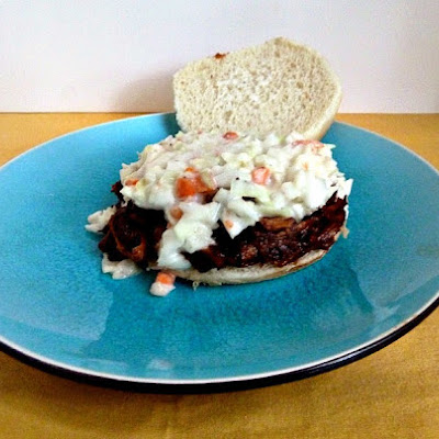 Crockpot BBQ Beer Pulled Pork with Cole Slaw