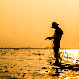 ႊThe Fisher by Khun Myo Than Htun - People Professional People ( sky, boat, net )