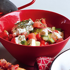 Chopped Veggie Salad with Watermelon and Feta Cheese