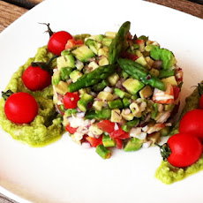 Avocado and Shrimp Tartare with Avocado Ginger Dressing