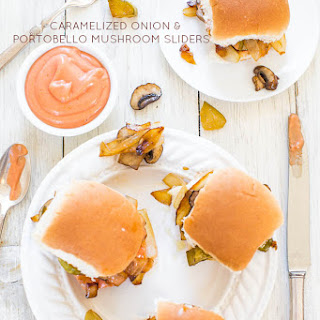 Caramelized Onion and Portobello Mushroom Sliders with Fry Sauce