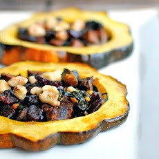 Spinach & Cranberry Stuffed Acorn Squash
