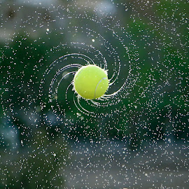 Another galaxy by Younis Mohammed - Sports & Fitness Tennis ( canon, water, ball, noflash, splash, high shutter, drop, drops, yellow, tennis, 6d, galaxy )