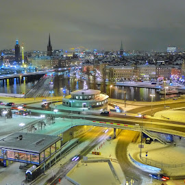 Stockholm City by Lewis Salmon - Novices Only Landscapes ( sweden, stockholm, industrial, snow, night, city )
