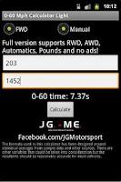 Screenshot of 0-60 Mph Calculator Light