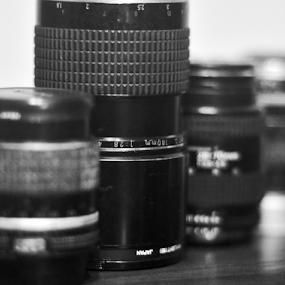 Nikkor by Iz Fotografi Art Works - Black & White Objects & Still Life ( lenses, nikkor, nikon )