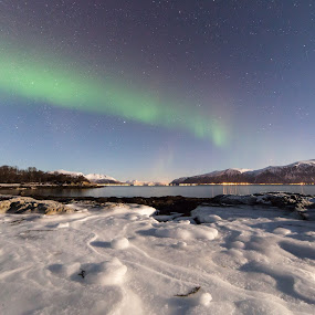 Iced rocks and aurora by Benny Høynes - Landscapes Prairies, Meadows & Fields ( northernlights, ice, aurora, rocks, norway )