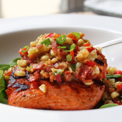 Grilled Salmon with Warm Bacon and Corn Relish – It's a Noun and a Verb