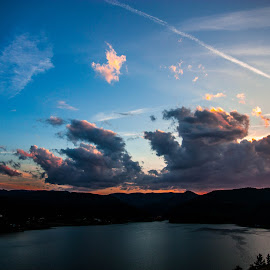Colours by Cosmin Herac - Landscapes Cloud Formations ( clouds, blue light, sky, blue, sunset, lake, sun, colours,  )