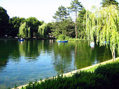 Lake scene with boats in Central Park-Cluj Napoca