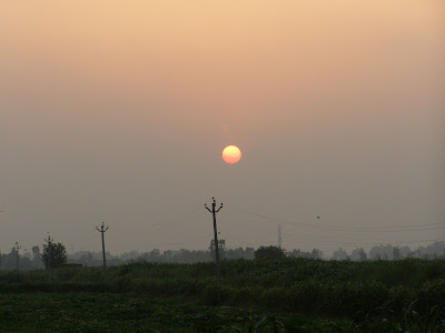 Sunset in the fields of Saha