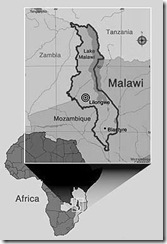 Kaart Malawi in Afrika