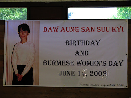 >Burmese Artist Mar Mar Aye & Overseas Burmese in the bay area mark 63rd Birthday of Aung San Suu Kyi