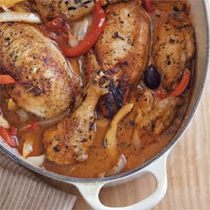 Braised Chicken with Peppers, Olives and Capers