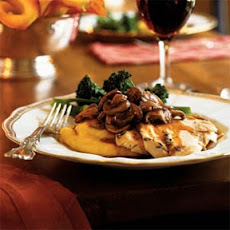 Roasted Chicken with Asiago Polenta and Truffled Mushrooms