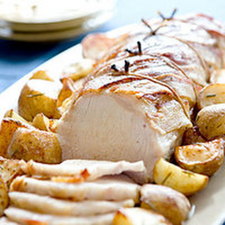 Maple-Mustard Pork Loin with Roasted Potatoes Recipe | Yummly