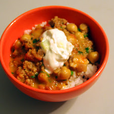 Madras Goat Chili with Cucumber Raita
