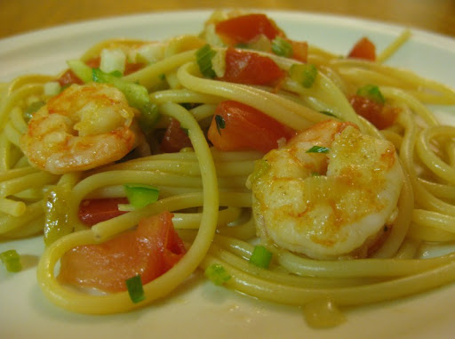 Trinity Spaghetti with Shrimp and Tomatoes