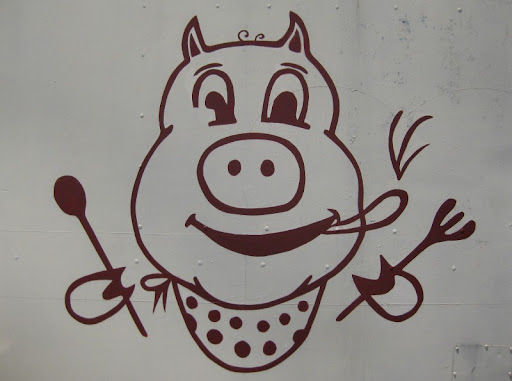Pig Logo at Barbecue Center