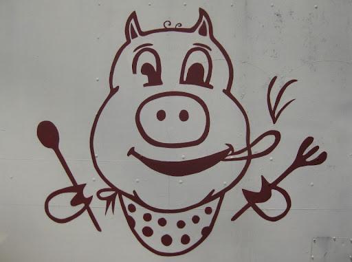 Pig Logo at Barbecue Center