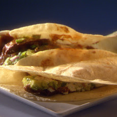 Chipotle Rubbed Steak Tacos Mole with Chipotle Cream and Guacamole