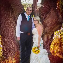 new journey by Emily Sullivan - Wedding Bride & Groom ( canon, love, wedding, romantic, couple, bride, people, woods, groom,  )
