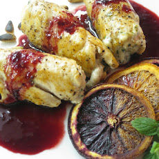 Chicken, Feta, And Mint Roulade With A Blood Orange Reduction