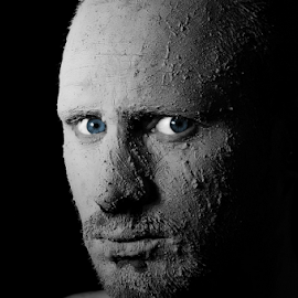 The Stare by Charlie Cook - People Portraits of Men ( face, mud, stare,  )