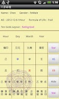 Screenshot of Chinese BaZi Astrology