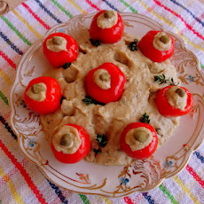 Israeli Baba Ganoush with Mayonnaise and Pickled Peppadew Peppers