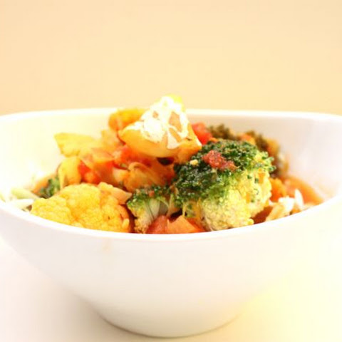 Fish Soup in Tomato-Saffron Broth with Broccoli, Cauliflower and Cabbage