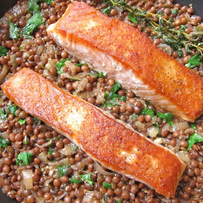 One-Skillet Crispy Salmon with Mustardy Lentils