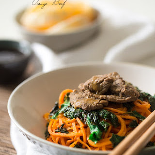 Paleo Honey Orange Beef Stir Fry with Sweet Potato Noodles and Kale