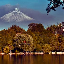 Lagoon and Volcano by Cristobal Garciaferro Rubio - Landscapes Travel ( volcano, lagoon, popo, san baltazar, popocatepetl, reflections, lake )