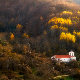 Warm light by George Petridis - Landscapes Mountains & Hills ( winter, mountain, church, trees, yellow, chapel, light, golden hour )