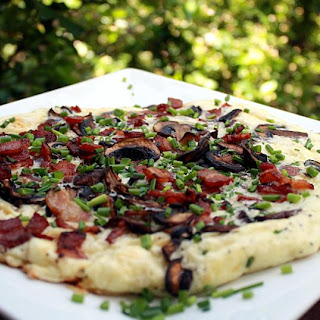 Bacon and Mushroom Omelette with Mozzarella Cheese