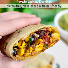 Black Bean, Sweet Corn, and Tomato Quinoa Burritos (Make-Ahead, Freezer-Friendly)
