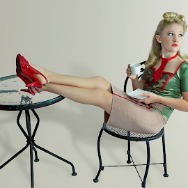 Boogie Woogie Bugel Boy by Beth Schneckenburger - People Fashion ( army, 40's, boogie woogie, retro, pin-up )