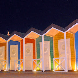 Colorful Beach Cabins By Night by Marco Bertamé - Buildings & Architecture Other Exteriors ( colorful, colors, cabins, summer, holidays, beach, Urban, City, Lifestyle,  )