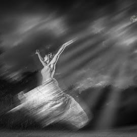 Moonlight Dancing  by Martin Hill - Wedding Bride ( wedding photography london, wedding photography somerset, wedding photographer london, ballet )