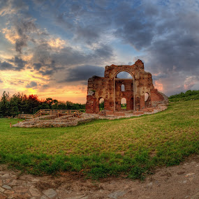 The Red Church by Petar Shipchanov - Buildings & Architecture Public & Historical ( red, hdr, church, sunset, red church, perushtitsa, historical, historic, bulgaria )