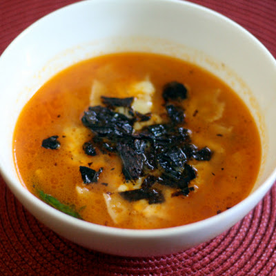 Tortilla Soup with Fried Pasilla Chiles