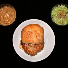 Chicken Burgers with Satay Sauce and Spicy Cucumber Relish