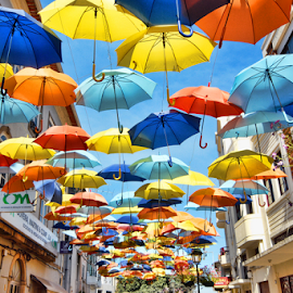 Umbrella Sky by Antonio Amen - City,  Street & Park  Street Scenes ( sky, umbrella, color, colors, landscape, portrait, object, filter forge )